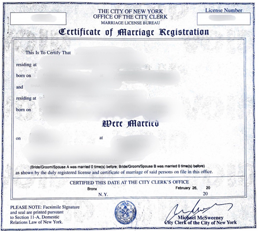 marriage certificate extended nys services registration